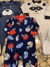 Carters Toddler Boy Fleece Footed Pajamas 12M Lot Of 3 Bear Raccoon Sport Zipper