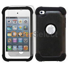 Hybrid Rugged Rubber Matte Case+Screen Guard for Apple iPod Touch 4 4th Black
