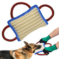 Jute Dog Bite Pillow Pad Dog Training Builder Tug Toy 3 Handle for Schutzhund K9