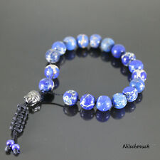 Herren blau Impression Jasper Buddha Shamballa Armband  für Männer Glücksbringer