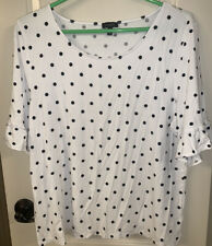 Talbots Womens XL Knot Top White Black Polka Dot Short Sleeve Ruffle