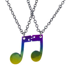 Lux Accessories Hematite Tone Rainbow Connect Music Notes BFF Necklace Set 2PC
