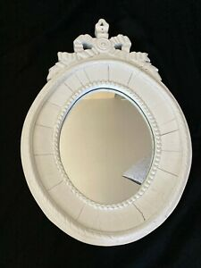 Restoration Hardware Oval Mirror Antique White Salvaged Reclaimed Wood