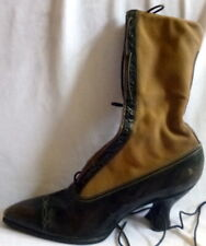 Antque 1910s Black Leather Lace Up Boots Heels Size 4 1/2 Edwardian