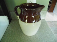 Vintage Brown Glaze Stoneware Pitcher