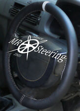 FITS PEUGEOT 206 HDi HATCHBACK BLACK LEATHER STEERING WHEEL COVER + GREY STRAP