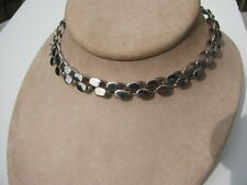 VTG.DECO RETRO SILVER CHROME METAL OVAL CIRCLE CHAIN LINK COLLAR CHOKER NECKLACE