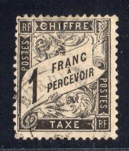 1882 France SC J23 YV 22 Postage Due - 1 Franc Black Bordeaux Cancel CDS Used