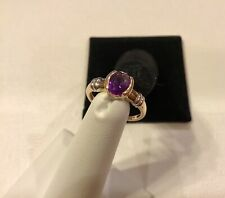 Size 7 10k Yellow & White Gold Oval Tension Set Amethyst Solitaire Ring