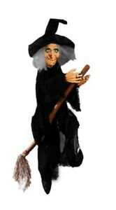 Hanging Halloween Animated Sound Light Up Witch On Broom Kicking Party Prop
