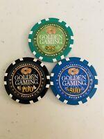 GOLDEN GAMING 3 CASINO CHIPS LAS VEGAS,NEVADA  CORPORATE SET