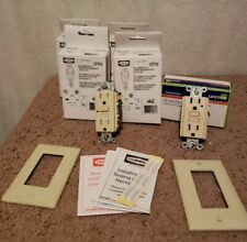 Lot Of 6 15a 120v Ivory GFCI's (Hubbell & Leviton)  includes wallplates.  NIB