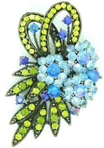 BROOCH ABSTRACT FLOWER BOUQUET BLUE GREEN PLASTIC RHINESTONES BRONZE TONE METAL