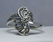 Sterling Silver Marcasite Bow Ring Size 7.5