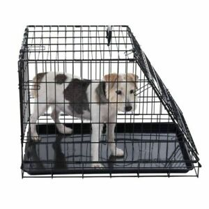 Dog Transport Cage Medium Crate Metal Removable Plastic Base Carrying Handle