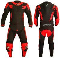Tuta Pelle Tessuto Moto Divisibile Giacca Pantaloni Protezioni CE Ducati Rosso