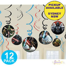 STAR WARS CLASSIC PARTY SUPPLIES 12 SWIRLS HANGING BIRTHDAY DECORATIONS