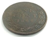 1892 Canada One 1 Cent Large Penny Copper Canadian Circulated Victoria Coin L522