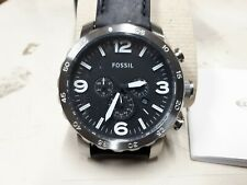 Brand new Fossil Nate Chronograph Black  leather 50mm JR1436 Men's watch