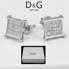 Men S Sterling Silver Stone Cubic Zirconia Earrings Studs Ebay