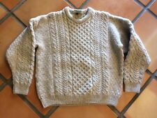 Vintage Carraig Donn Oatmeal Wool Cable Knit Sweater Made in Ireland women's L