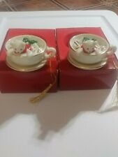 Mikasa Bear/Teacup Porcelain Holiday Ornaments (set of 2)