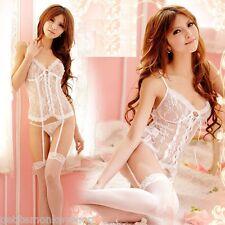 純白透明蕾絲前綁帶含吊襪帶宮廷馬甲情趣內衣   Sexy White Lingerie Sleeping Wear