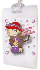 HATTERS MONKEY AROUND WHITE LUGGAGE TAG & STRAP FOR LADIES OF SOCIETY TRAVEL