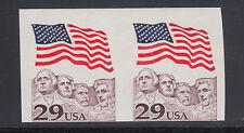 US Sc 2523b MNH. 1991 29c Flag over Mt. Rushmore, Imperf Coil Pair