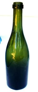Vintage Dark Green Glass Wine Bottle