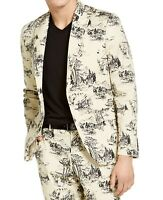 INC Mens Suit Seperate Beige Size 2XL Slim Fit Blazer Nature Print $129 235