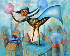 """Original painting Oil on canvas 20""""x16"""" CONTEMPORARY ART MODERN  ABOVE THE CITY"""