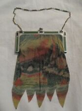VINTAGE WHITING & DAVIS SIGNED ART DECO MESH PURSE Gorgeous Multicolor