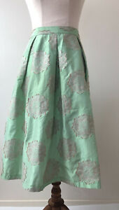 Top Shop Y2K Size 12 Mint & Gold Embroidered Floral Print Hip Pleat Midi Skirt