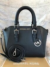 NWT MICHAEL KORS SAFFIANO LEATHER CIARA MEDIUM MESSENGER LTR BAG IN BLACK