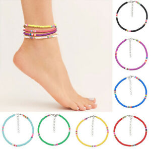 Elastic Colorful Anklets Fashion Boho Disc Beads Jewelry Polymer Clay Beaded