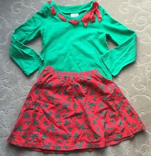 CWD KIDS Green & Red with Ribbons Cotton Skirt Top Set~7/8~USA