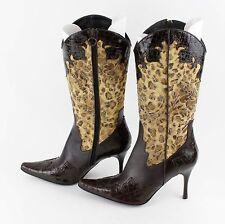 Donald J. Pliner Sz 9.5 VANE Chocolate Brown Gold Paisley Leopard Croc Boots LB