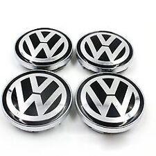4 Cache Moyeu Centre de Roue Wolkswagen 60mm Noir/Blanc Jantes Logo Emblème