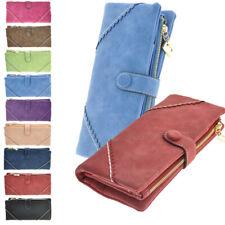 Women's Blocking Leather Wallet Card Organizer Ladies Button Clutch Travel Purse