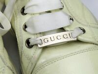 Gucci Womens Shoes Sneakers Beige 37/7 Patent Leather Fashion Logo Italy EUC