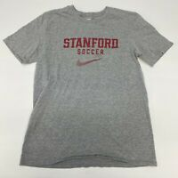 Nike Stanford Soccer Shirt Mens Small Gray Athletic Cut Short Sleeve Casual NCAA