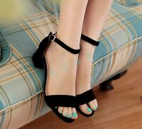 NEW Ladies Open Toe Ankle Strap Med Block Heel Sandals Faux Suede Stylish Shoes