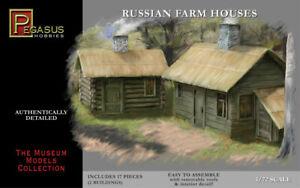 Pegasus Hobbies 1/72 Russian Farm Houses w/Removable Roofs (2 Buildings)