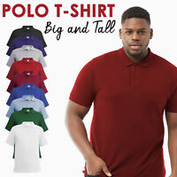Mens Polo T-Shirt Plus Size Big And Tall Plain Shirt Short Sleeve Tops Basic UK