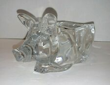 HEAVY GLASS PIG DISH - FAT SOW BOWL FIGURINE TRINKET FLORAL VASE - UNKNOWN MAKER