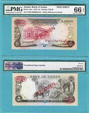 Sudan 5 Pounds 1970 P14as UNC - Specimen TDLR oval / PMG graded GEM66EPQ