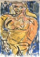 ORIGINAL WILLEM DE KOONING HAND DRAWN AND SIGNED * NUDE * WATERCOLOR ON PAPER