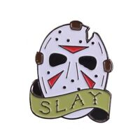 "Jason Voorhees Friday The 13th. Mask ""SLAY"" 1"" Metal Pin"