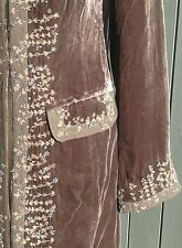 LAURA ASHLEY BROWN EMBELLISHED BEADED VELVET COAT - UK SIZE 10.